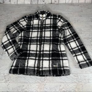 Calvin Klein Plaid Black White Fleece Jacket Sz Sm